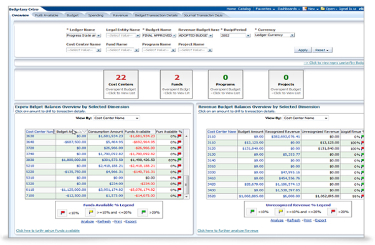 Preview of the Oracle Financial Analytics